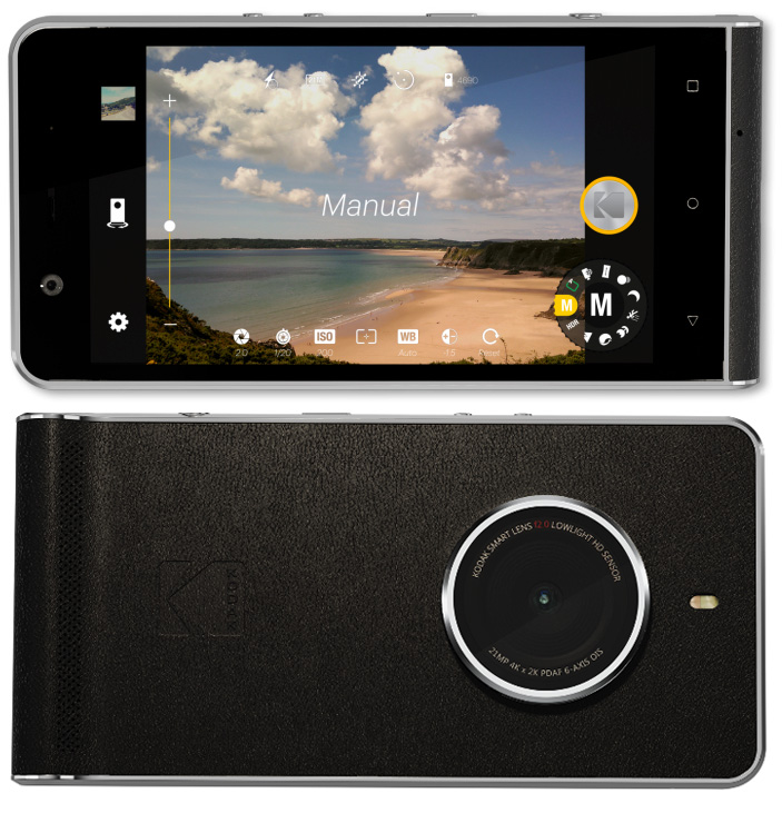 Front and back of the new Kodak Ektra smartphone.