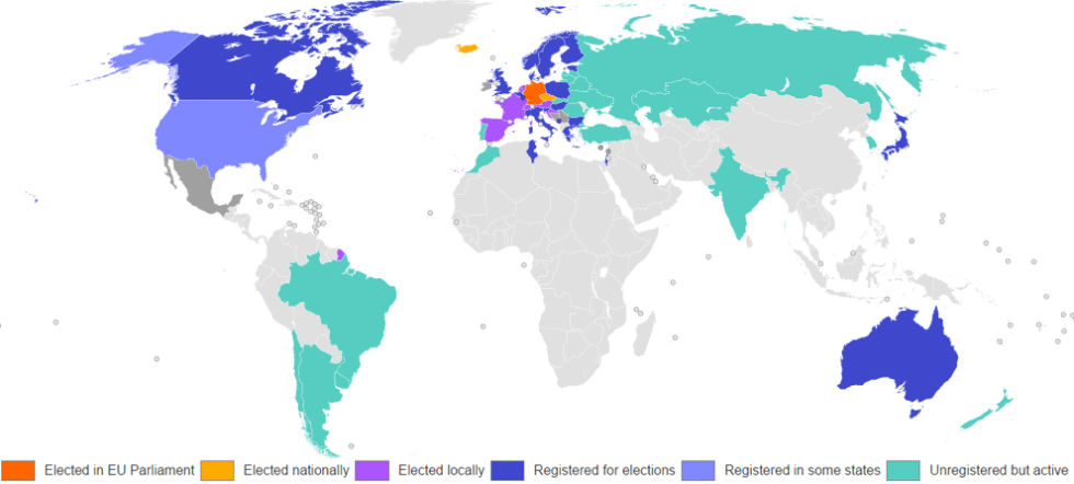 A map of the Pirate Party's political status around the world (as of December 2014).