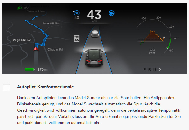 "As of publishing time, Tesla's German website was still using the term ""autopilot."""