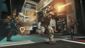 Despite the sci-fi setting, the shooting is classic <em>Call of Duty</em>.