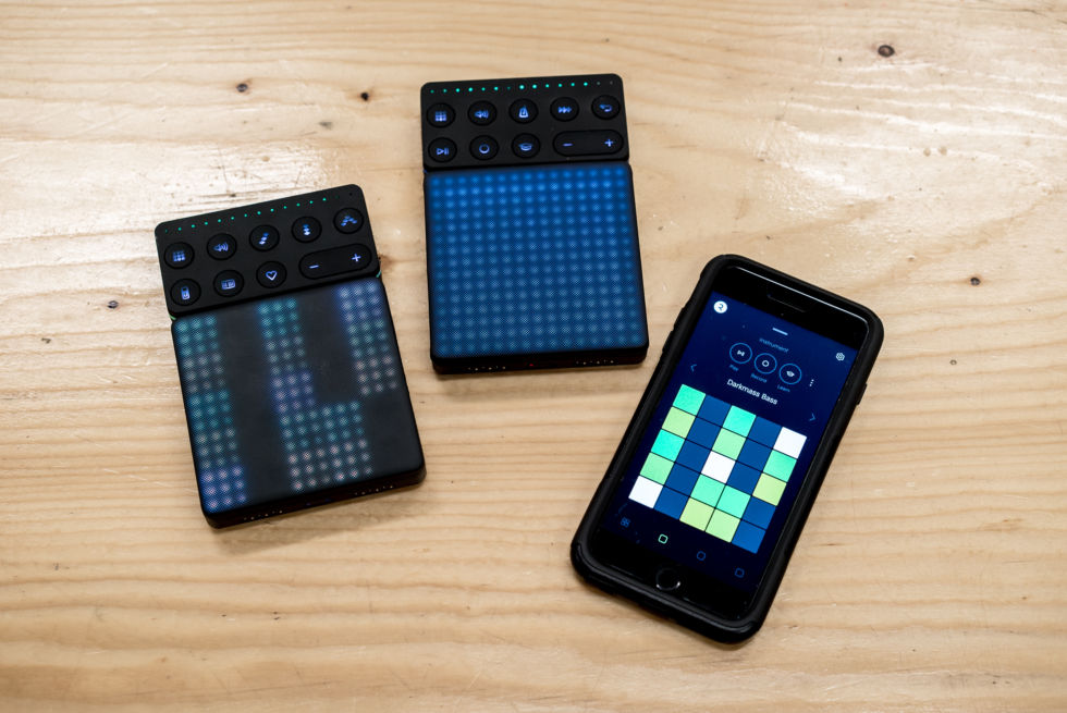A full Roli Blocks setup, including the Noise app.