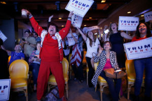 Trump supporters in California reacting to news that he had won the state of Florida.