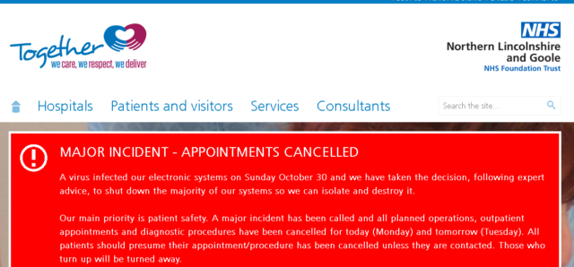The North Lincolnshire and Goole NHS Foundation Trust remains on red alert.