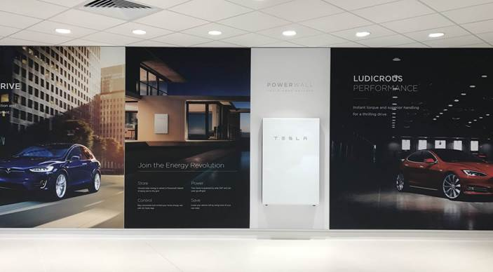 Powerwall 2, on a wall at the new Tesla Chiswick store.