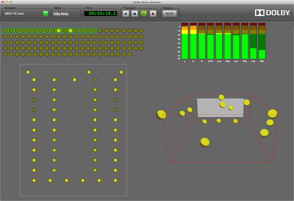 The interface used to mix a Dolby Atmos film. The yellow dots in the lower right represent sound objects that can be moved around the listening space.
