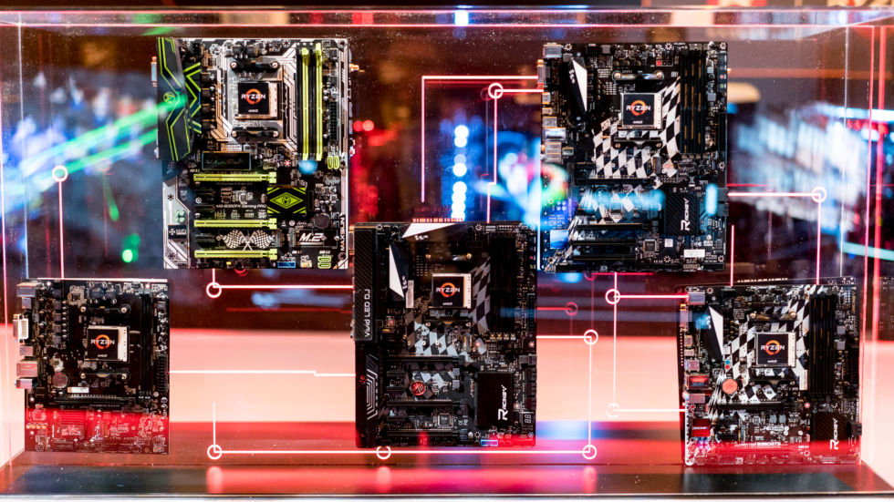 A selection of AM4 motherboards on show at CES.