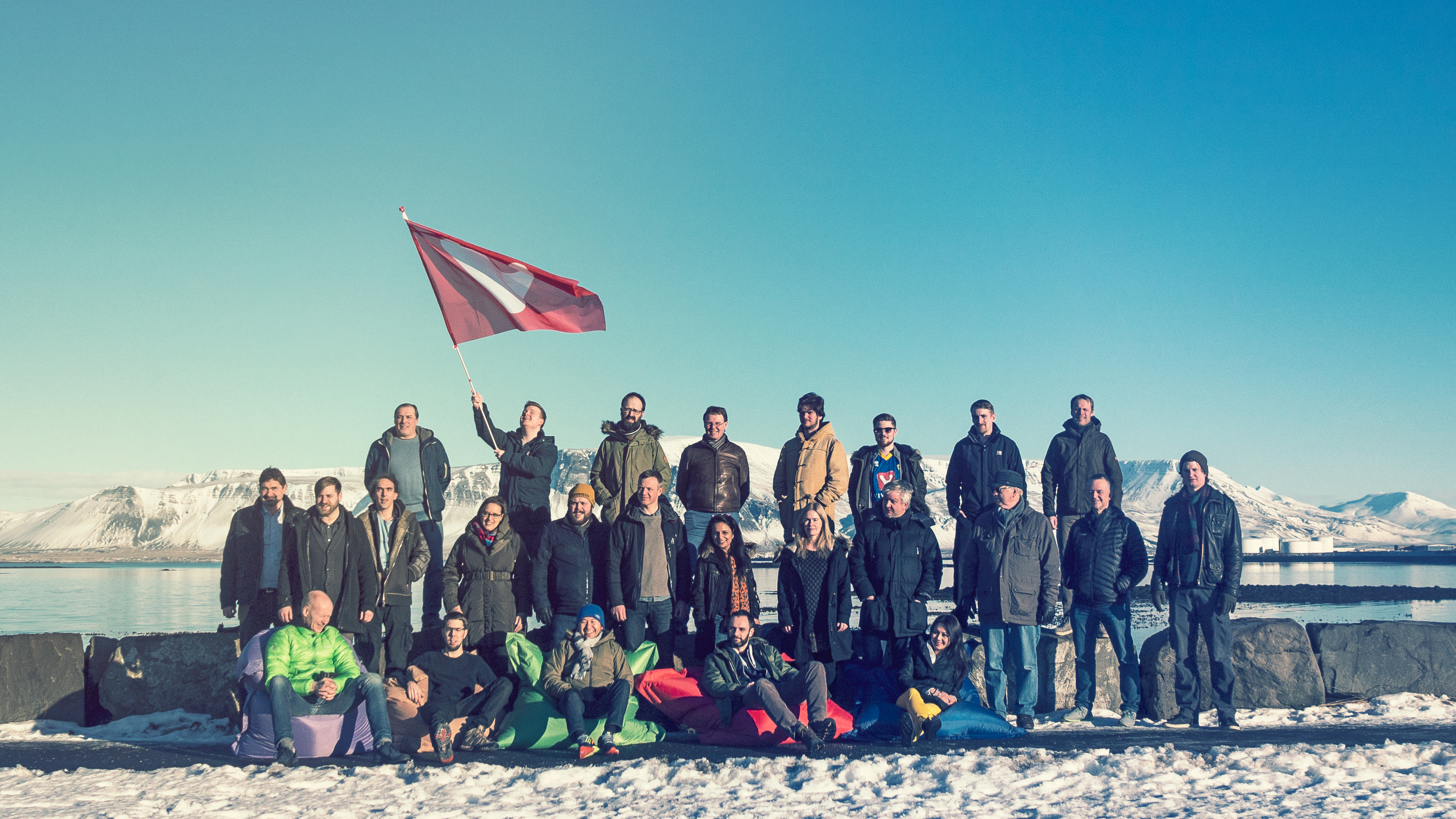 Part of Vivaldi's team in Iceland. Tatsuki Tomita is sitting in the green bean bag; Jon von Tetzchner is first from the left in the middle row.
