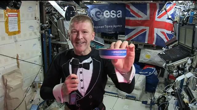 Tim Peake, aboard the ISS, eating a special meal prepared by Heston. (Sadly, due to regulations, it had to be tinned.)