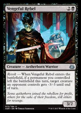 <em>Revolt</em> cards are triggered by one of your other cards leaving the battlefield, even if just for a moment.
