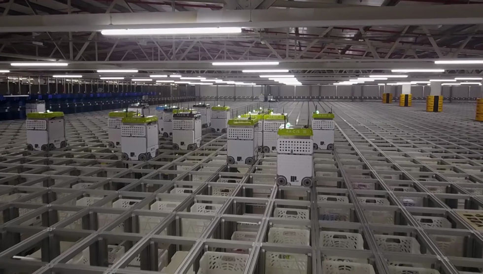 A real image of the Andover CFC. A grid and automated robots as far as the eye can see...