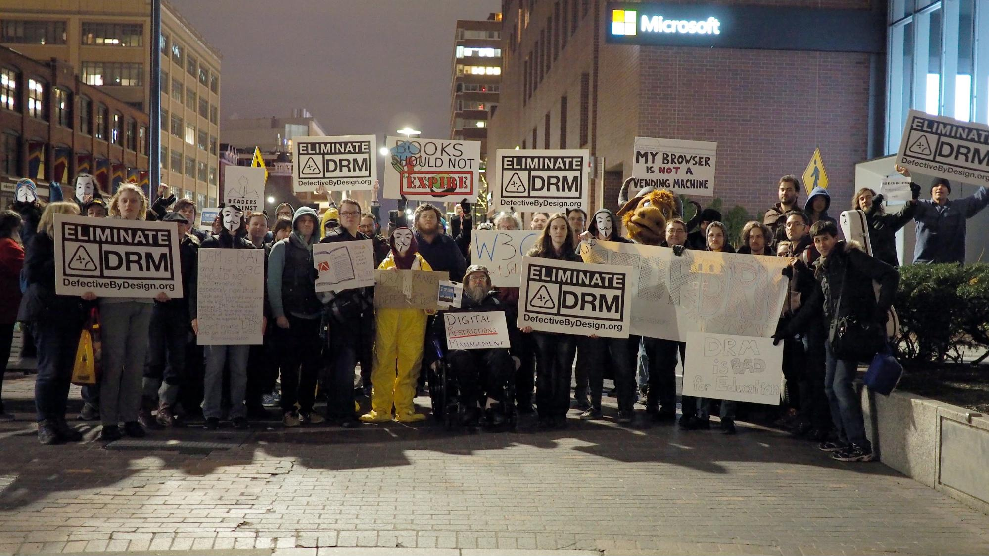 Street protests against DRM in Cambridge, Massachussetts, in March, 2016.