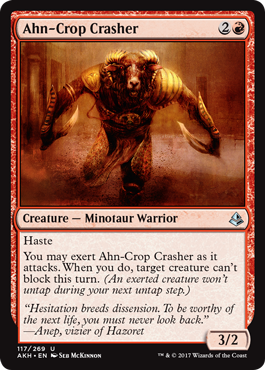Exert cards like this make combat—deciding when to attack or hold something back to block—a much more complex affair.