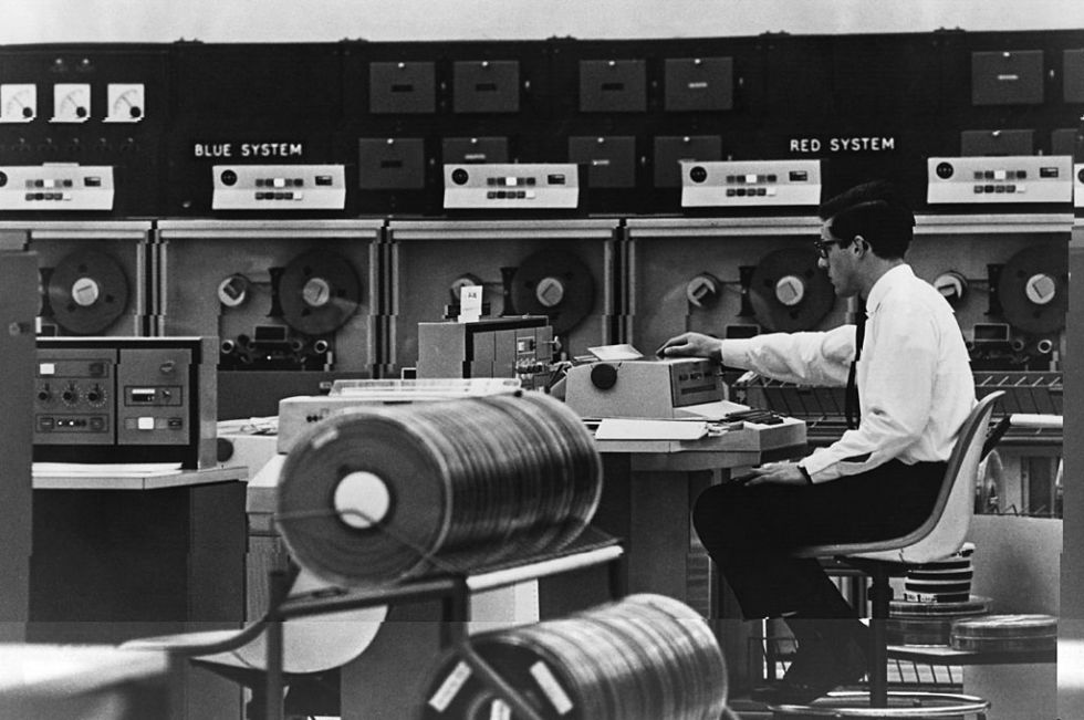 An operator using London Airport's operations computer Boadicea, the British Overseas Airways Digital Information Computer for Electronic Automation. BOA eventually merged with British European Airways to form British Airways. Sadly, we couldn't find any newer photos of BA's data centres.