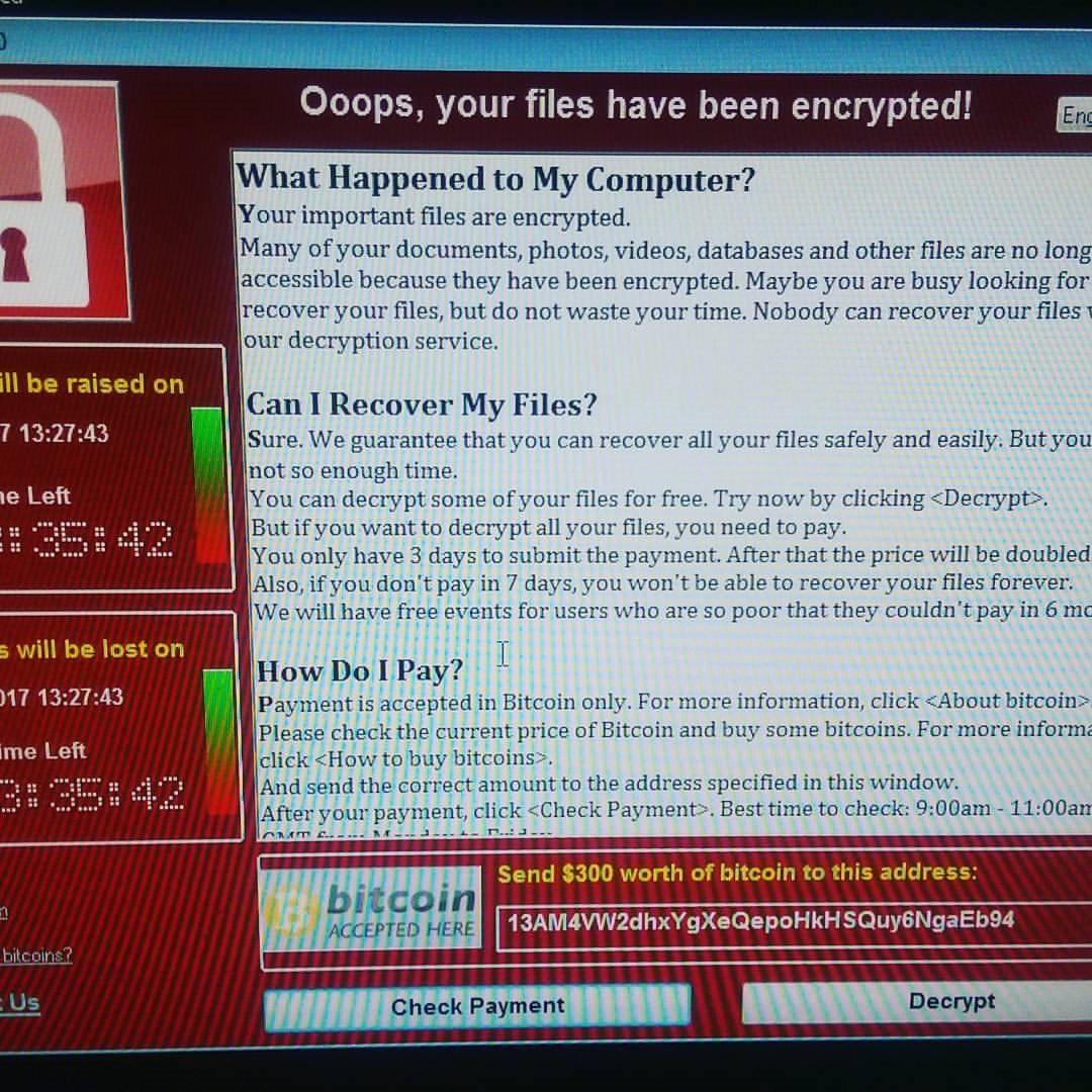 Another shot of the ransomware, this time obtained by the BBC. Note the slightly different timings on the left.