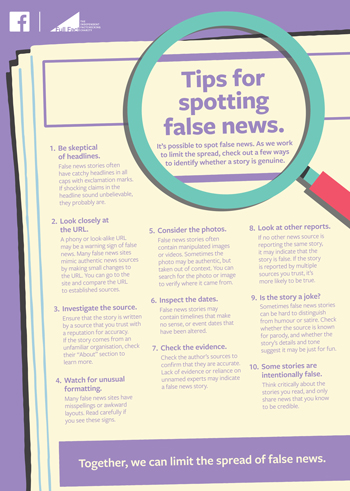 Facebook's full-page newspaper ad for spotting fake news.