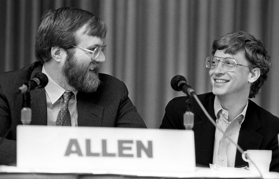 Bill Gates shares a moment with Microsoft co-founder Paul Allen in 1987.