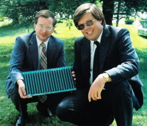 Harry Garland and Roger Melen, co-founders of Cromemco, holding an S-100 backplane in 1981.