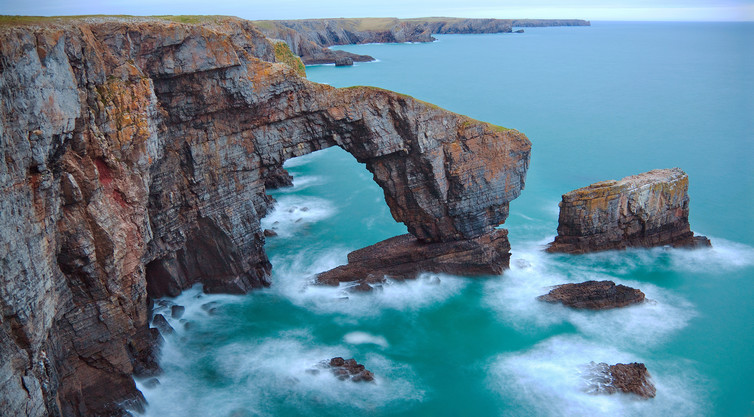 The Pembrokeshire coastline here has been chemically eroded over centuries as the limestone has been dissolved