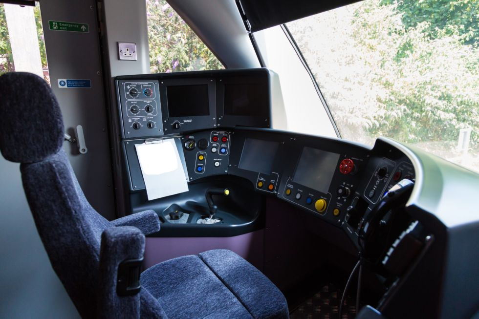 A photo of the Class 345 driver cab. Sadly we weren't allowed in to take more detailed photos of the various systems.