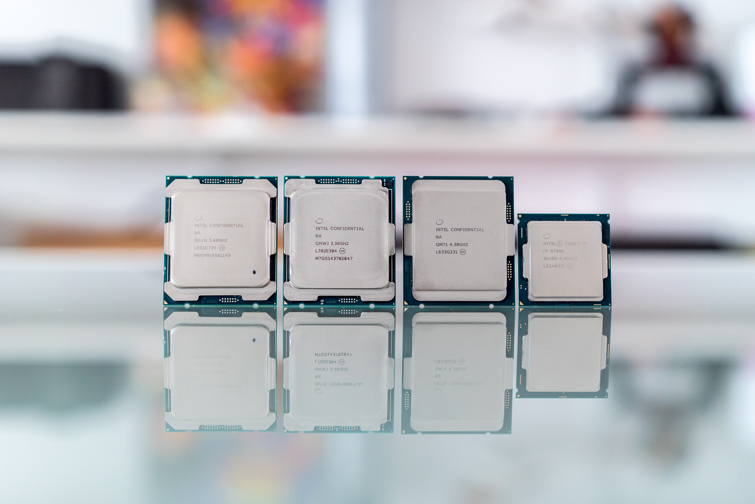 Left to right: Broadwell-E, Skylake-X, Kaby Lake-X, Skylake.