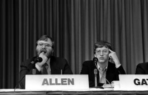 Paul Allen and BIll Gates at the 1987 PC Forum, looking a little bit bored.