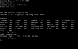A screenshot of a version of PC-DOS from around 1982.