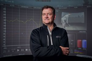 Gregg Rogers, in his high-tech golf training facility.