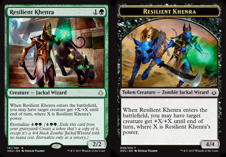 An Eternalize card on the left, plus its special token card, which can be found in some booster packs.