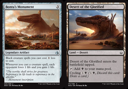 On the left: a monument in <em>Amonkhet</em>. On the right: What has happened to that monument since the <em>Hour of Devastation</em>...