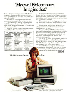 An original IBM PC 5150 print ad. Ads were different back then...