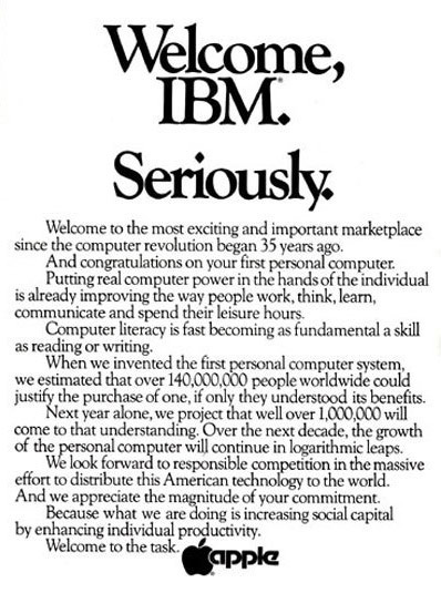 Apple's full-page ad in the <em>WSJ</em>.