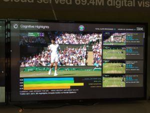عکس (ظاهرا) نرم افزار IBM که نکات برجسته مسابقات تنیس را ایجاد می کند.  چهار متغیری را که ردیابی می کند مشاهده می کنید ...