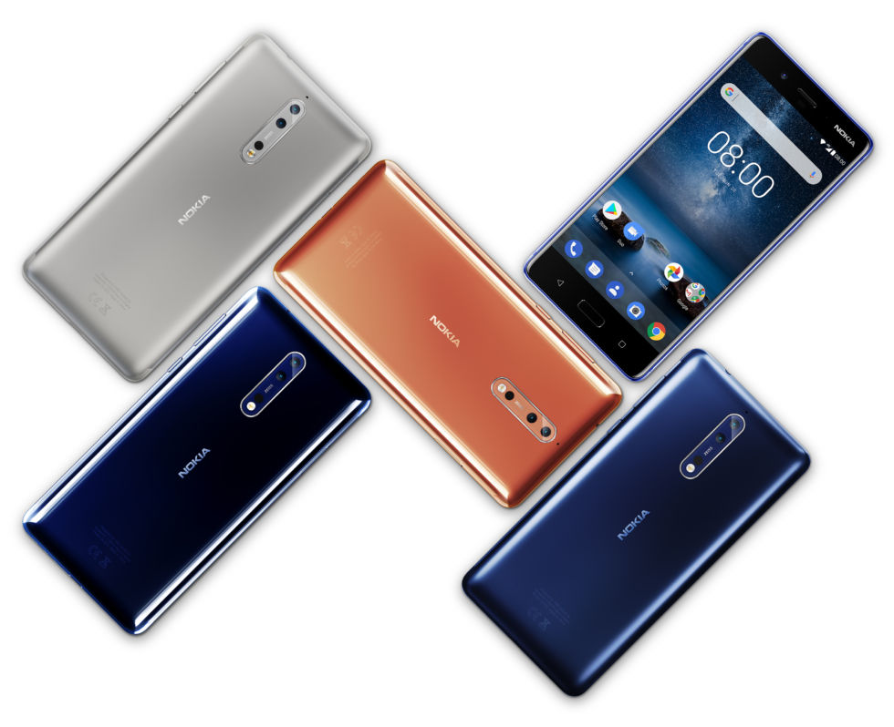 The Nokia 8 comes in Matt Silver, Polished Blue, Matt Blue, and Polished Copper finishes.