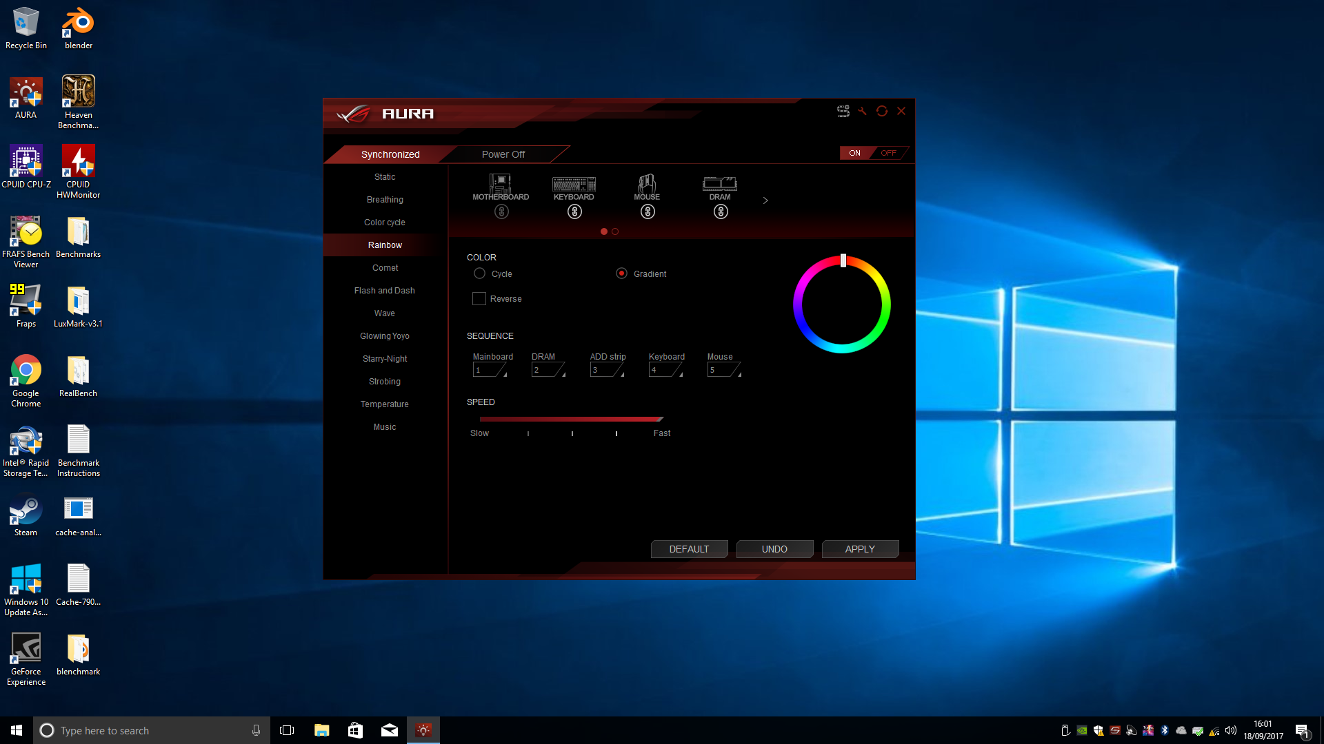 """The Asus Aura software isn't the best, but it works well enough. This what I like to call the """"unicorn vom"""" setting."""
