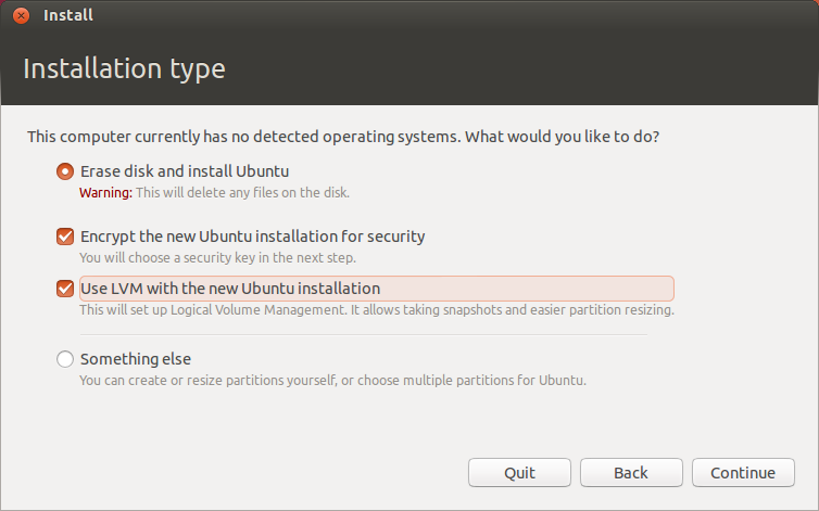 The Ubiquity installer uses plain language to walk through partitioning decisions.