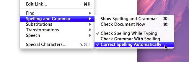Auto-correction menu item