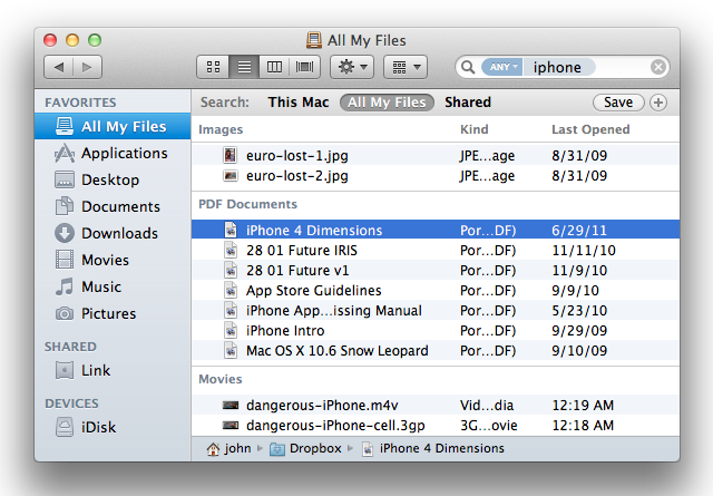 The Finder: All My Files