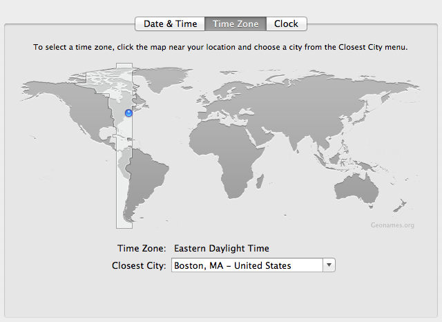 System Preferences: time zone