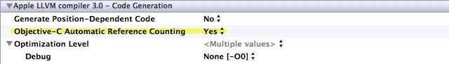 Xcode's ARC setting (highlight added)