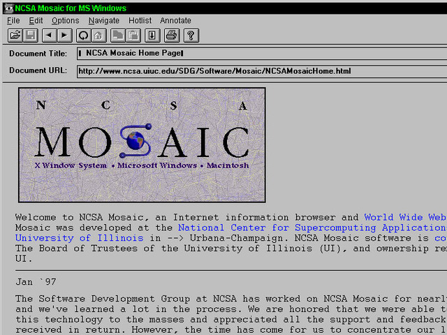The Mosaic browser was available for X Windows, the Mac, and MS Windows