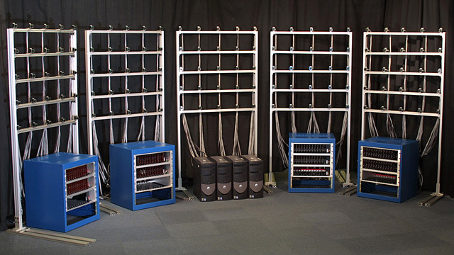 A multi-camera array built at Stanford to record light fields.