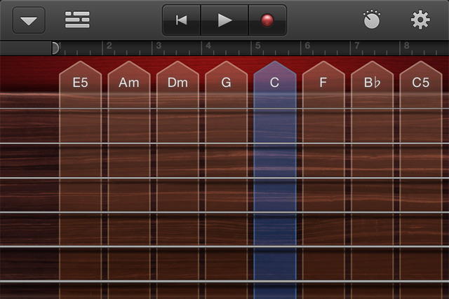 Strum a virtual guitar using preset chords or by tapping individual strings.