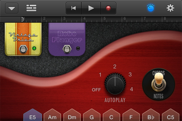 Tweaking knobs is done in a separate view on the iPhone—it just doesn't have the same screen real estate as the 9.7-inch iPad. However, you can still actively play chords by tapping them along the bottom.