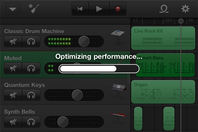 GarageBand likes to optimize performance quite a bit on the iPhone.