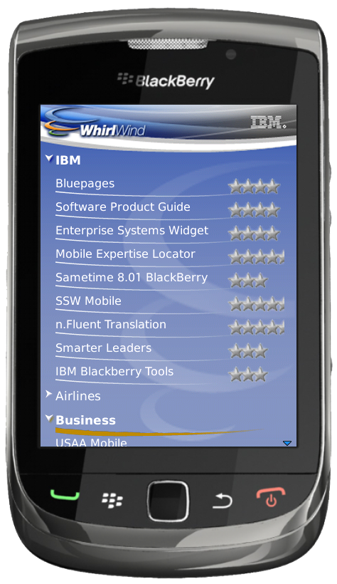 IBM WhirlWind on a BlackBerry