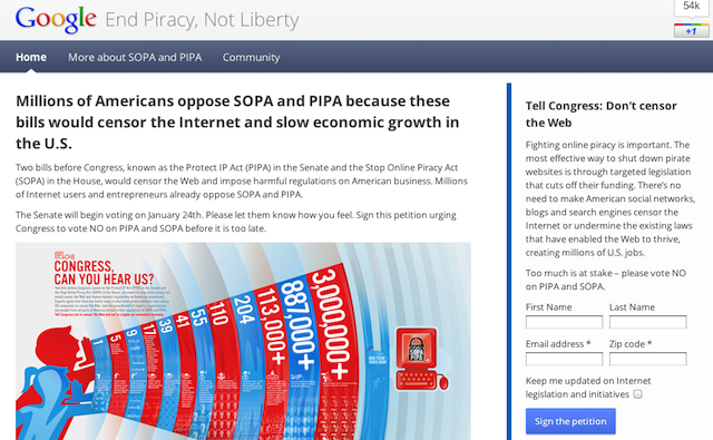 Google distinguishes: piracy needs to end, but can't take liberty down with it.