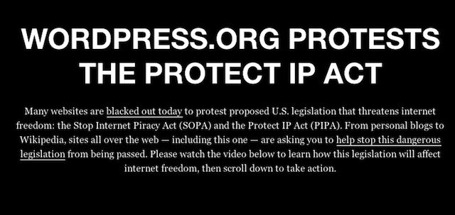 Wordpress's protest page