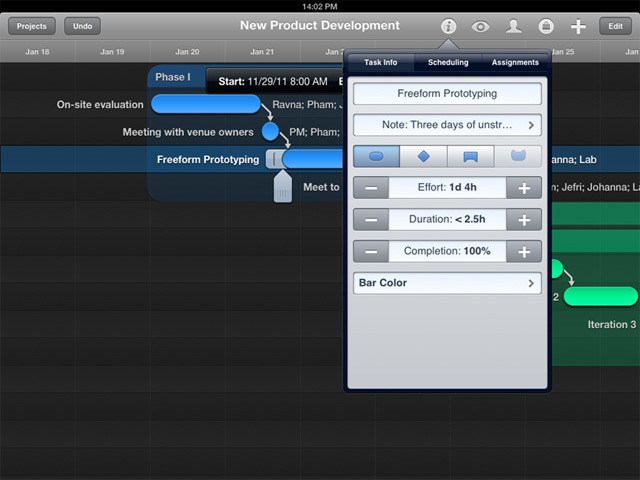An early look at the interface for the upcoming OmniPlan for iPad.