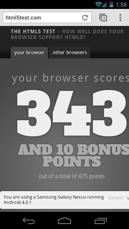 Chrome scores 343 at HTML5Test.com. The default browser only scores 256.