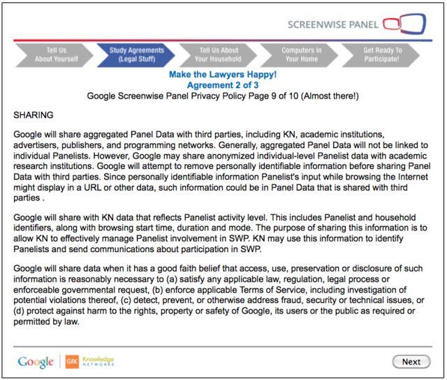 A screenshot of the Screenwise program's legal agreement